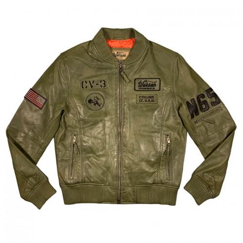 US Navy pilot leather jacket kaki