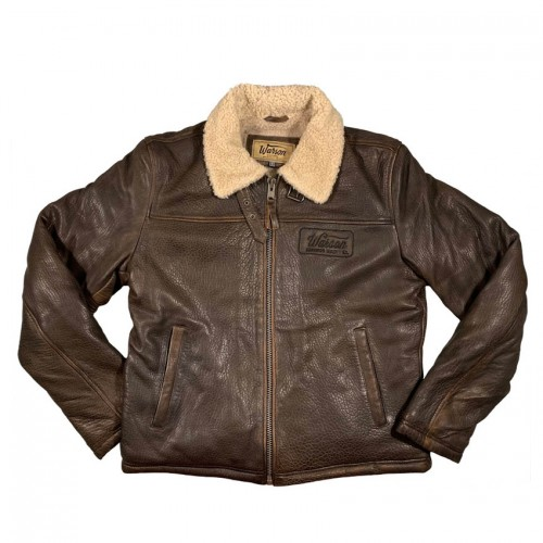 Winter aviator leather jacket brown