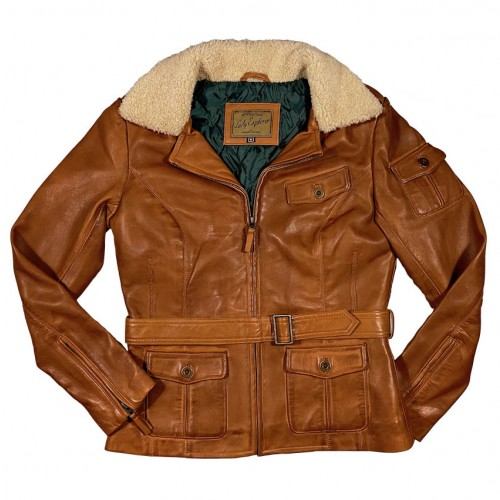 Lady Explorer leather jacket cognac