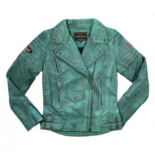 Blouson Leather Turquoise