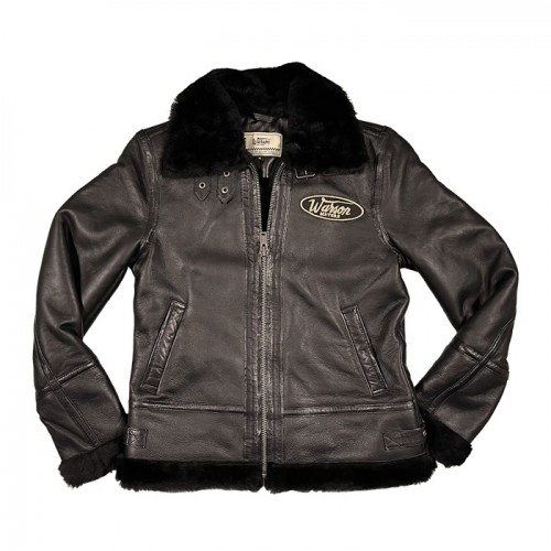 Winter lady aviator leather jacket