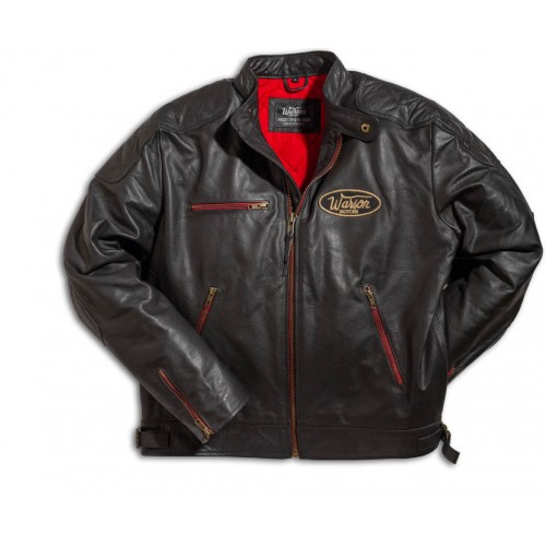 Motorcycle Leather Jacket Black Red Zipper