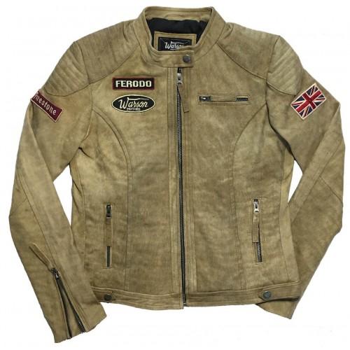 Grand Prix Leather Jacket Woman Jungle Tan
