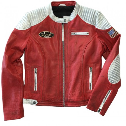 Grand Prix Leather Jacket Woman Red & White