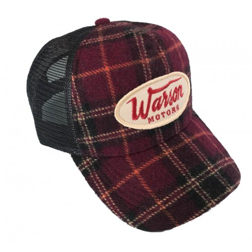Flannel check cap bordeaux