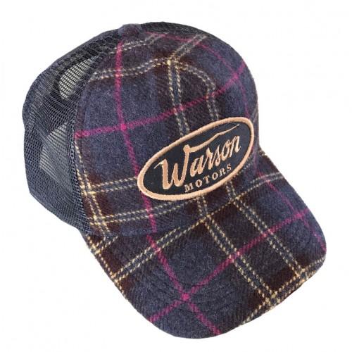 Flannel check cap blue